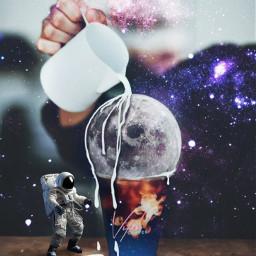 space moon astronaut coffe milk freetoedit