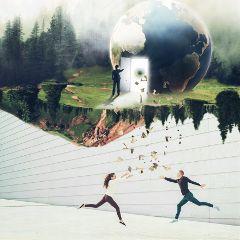 togetherremix surreal upsidedown earth people freetoedit