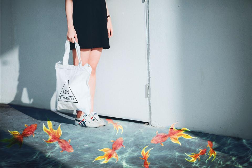 #freetoedit #fish #water #goldfish #person #standing #bag #swimming #dramaeffect #madewithpicsart #stickers #picsart