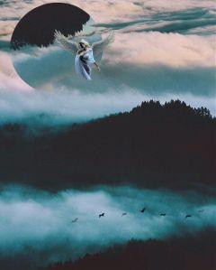 landscapeflip landscape angel fog forest freetoedit