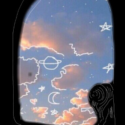 freetoedit sketched girl window sky
