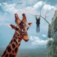 girraffe man hang surreal surrealist freetoedit