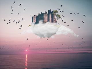 freetoedit castleinthesky clouds birds castle