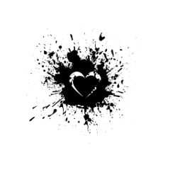 freetoedit black paint splatter heart