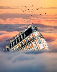 surreal artistic house clouds edited op: