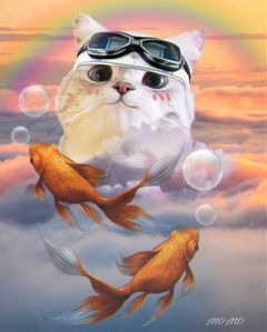 kittenstickerremix surreal sky myartwork freetoedit