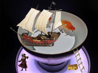 pirate treasure goldfish bowl ship freetoedit