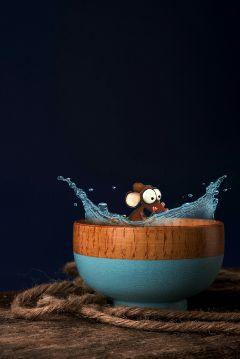 cute rat bowl accident splash freetoedit