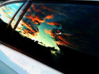 sky window car reflection sunset