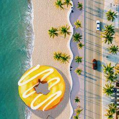 freetoedit beach donuts yellow madewithpicsart