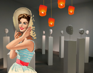 pinupgirl retro vintage lantern woman