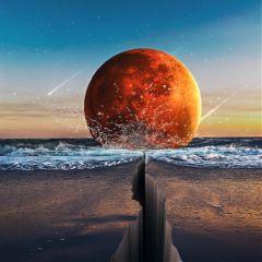 freetoedit remixit moon crackedfloor beach ftestickers