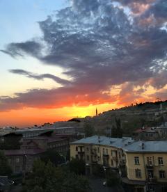 twilight urban sky clouds evening