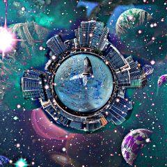 tinyplanet freetoedit myedit doubleexposure picsart