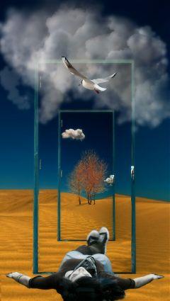 door desert bluesky girl surreal freetoedit