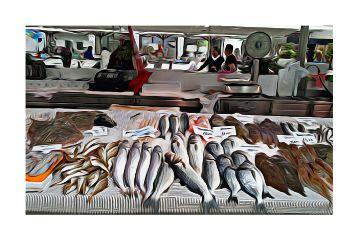 matosinhos portugal fish market oilpaint