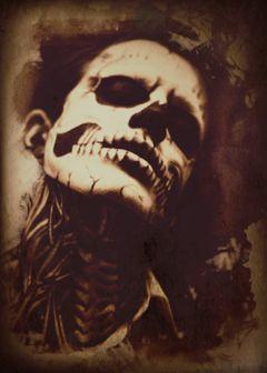 darkart skeleton halloween sepia