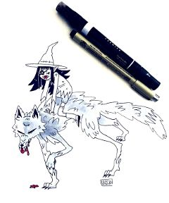 freetoedit drawing inktober witch wolf