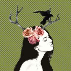 horns black raven girl flowers freetoedit