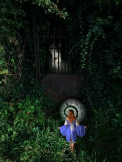 alice whiterabbit lookingglass clock garden freetoedit