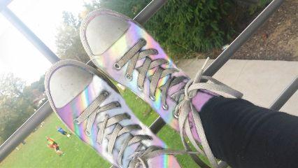 freetoedit holographic shoes outside school