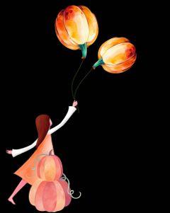 pumpkins halloween littlegirl ballons surrealism