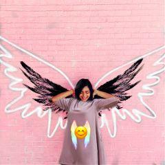 angel wings wall dress pinkdress freetoedit