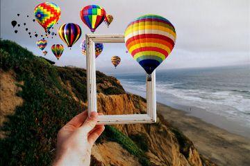 freetoedit balloon sky hand frame