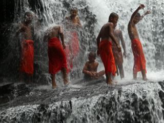 photography monks waterfall traveling fun