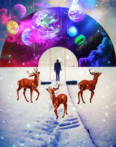 vinylremix galaxy planet deer snow freetoedit