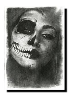 blackandwhite woman halloween skull darkart