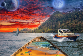 boats people planet moon sea
