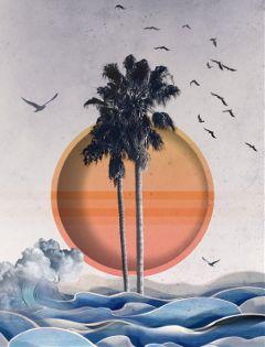 freetoedit beach ocean sun palmtrees