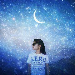 freetoedit stars girl moon blue