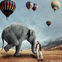 elephant girls surreal balloons freetoedit