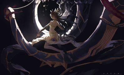animegirl scenery digital art illustration