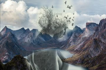 freetoedit mountainremix girl lake birds
