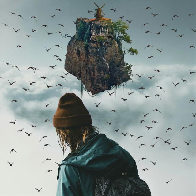 #island #sky #skyisland #bird #girl