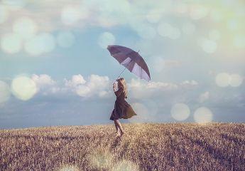 freetoedit umbrella girl dancing sky
