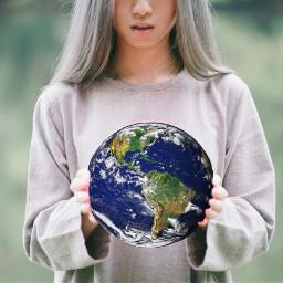 freetoedit world girl globe interesting