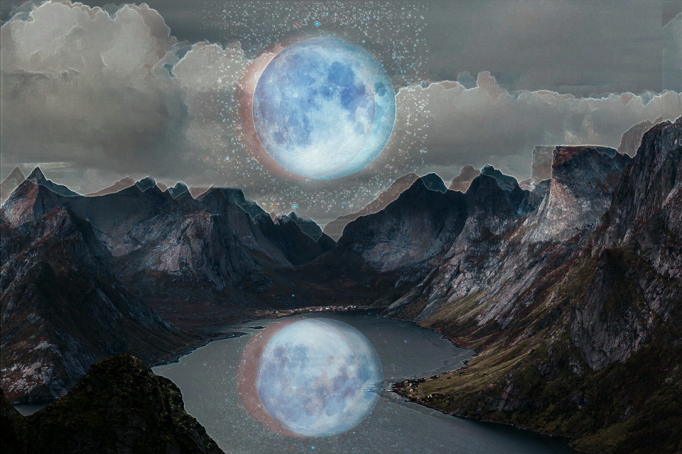 #moon #mountain #nature #artistic #popart