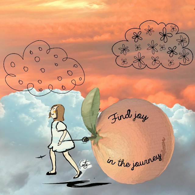 #orangeskyremix #cloudstickers #girl #orange #joy #thecolororange