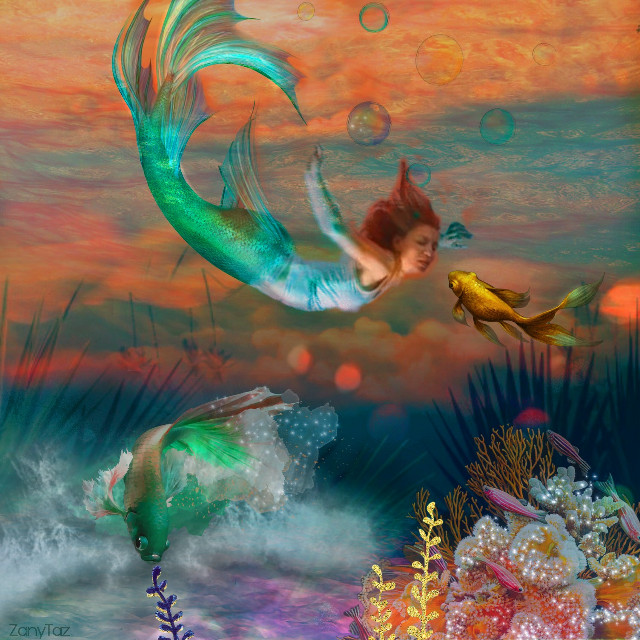 When little #gold #fish gets curious of  Miss #mermaid ❤🍃 Feeling #artsy #underwater #scenery (Used @ecervone background #orange sky as base) @pa #mermaidtail