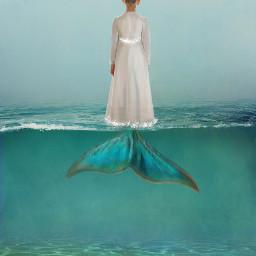 girl water transformation mermaidtail freetoedit