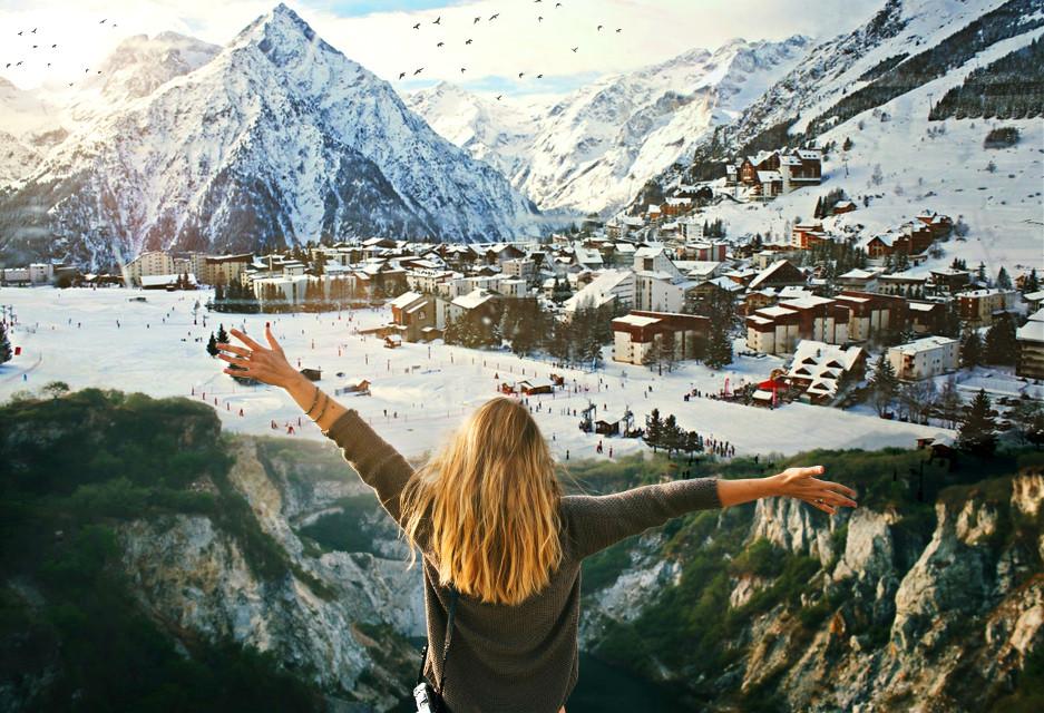 #nature #photography #snow #mountain #doubleexposure #ski #surreal #sun #birds #glare #mountains #girl #woman #hair