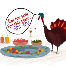 turkey bird thanksgiving plate singing freetoedit