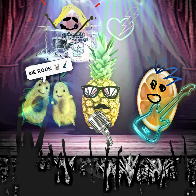 #onstage #fruitstickers #sketchereffect #band #rock #rocknroll #stage #lights #fruit