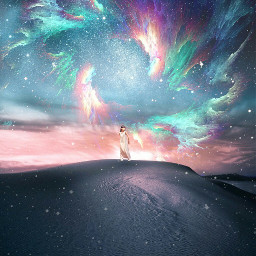 girl myedit surreal skylights stars desert