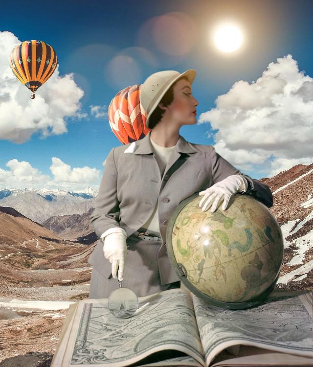 #adventure #explorer #woman #classic #photography #nature #clouds #balloons #pa #picsart #mountains