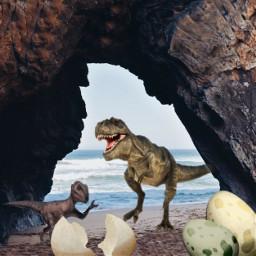 freetoedit remixoftheday stickeroftheday dinosaurs beach